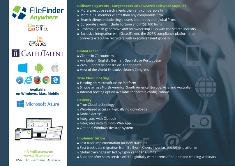 FileFinder Anywhere Executive Search Software data sheet